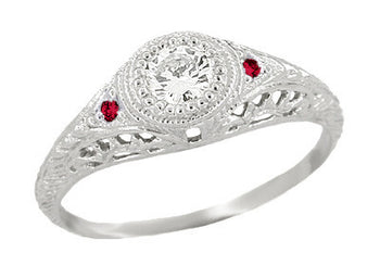 1920's Low Dome Filigree Engagement Ring With Side Rubies in 14 Karat White Gold
