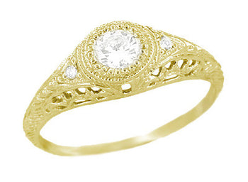 Art Deco Engraved Filigree 1/3 Carat Diamond Engagement Ring in 18 Karat Yellow Gold