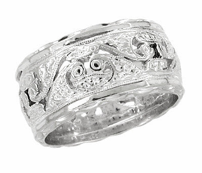 10mm Wide Filigree Engraved Scrolls Antique Wedding Band in 14 Karat White Gold