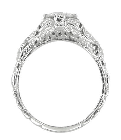 Edwardian Bows and Leaves Filigree Diamond Engagement Ring in 14 Karat White Gold - Item: R470 - Image: 4