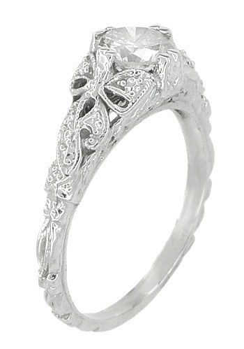 Edwardian Bows and Leaves Filigree Diamond Engagement Ring in 14 Karat White Gold - Item: R470 - Image: 1