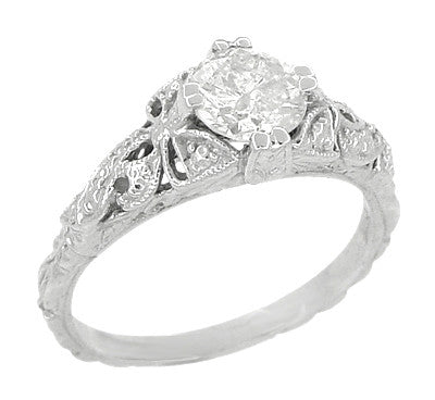 Edwardian Bows and Leaves Filigree Diamond Engagement Ring in 14 Karat White Gold