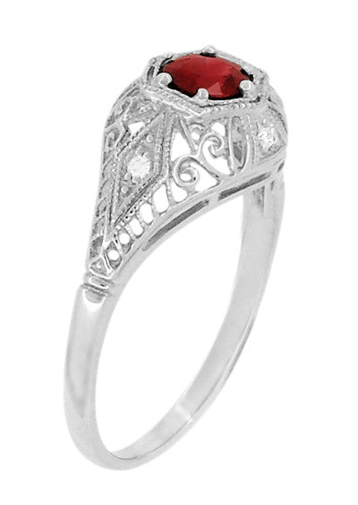 Edwardian Ruby and Diamonds Scroll Dome Filigree Engagement Ring in 14 Karat White Gold - Item: R471 - Image: 2