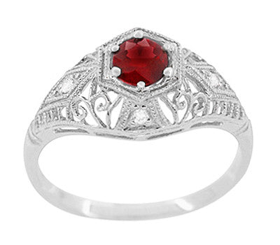 Edwardian Ruby and Diamonds Scroll Dome Filigree Engagement Ring in 14 Karat White Gold - Item: R471 - Image: 1