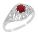 Edwardian Ruby and Diamonds Scroll Dome Filigree Engagement Ring in 14 Karat White Gold
