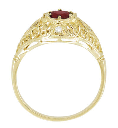 Edwardian Ruby and Diamonds Scroll Dome Filigree Engagement Ring in 14 Karat Yellow Gold - Item: R471Y - Image: 3