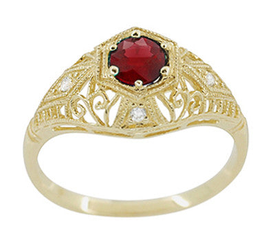 Edwardian Ruby and Diamonds Scroll Dome Filigree Engagement Ring in 14 Karat Yellow Gold - Item: R471Y - Image: 1