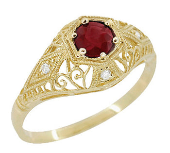 Edwardian Ruby and Diamonds Scroll Dome Filigree Engagement Ring in 14 Karat Yellow Gold