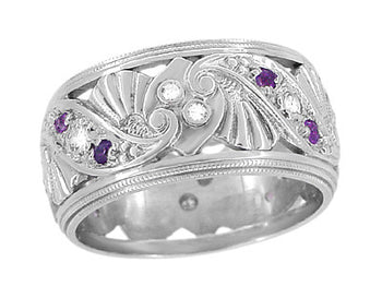 Retro Moderne Filigree Amethyst and Diamond 9.5mm Wide Wedding Ring in 14K White Gold - Size 6