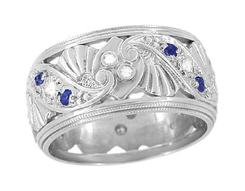 Retro Filigree Sapphire and Diamond 9.5mm Wide Wedding Ring in 14 Karat White Gold