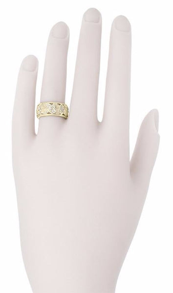 Retro Moderne Filigree Fan Scrolls Wide Diamond Wedding Ring in 14 Karat Yellow Gold - Item: R472YD - Image: 1
