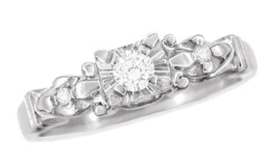 1950's Retro Moderne Starburst Galaxy Diamond Engagement Ring in 14 Karat White Gold - Item: R481 - Image: 2