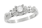 1950's Retro Moderne Starburst Galaxy Diamond Engagement Ring in 14 Karat White Gold