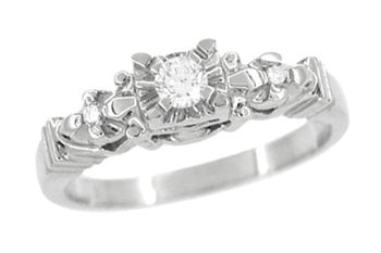 1950's Retro Moderne Starburst Galaxy Diamond Engagement Ring in White Gold