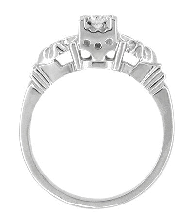Retro Moderne Starburst Galaxy Engagement Ring Set in Platinum - Item: R481PSET - Image: 2