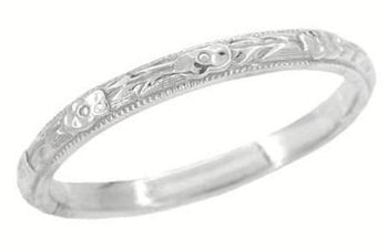 Edwardian Heirloom Roses and Evergreen Leaves Wedding Band in Platinum