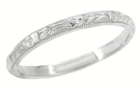 Platinum Edwardian Antique Wedding Ring with Carved Roses and Evergreen Leaves