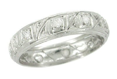 Art Deco Sharon Vintage Wedding Band in Platinum with Diamonds - Size 8