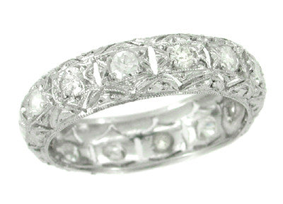 Noroton Art Deco Antique Diamond Eternity Wedding Band in Platinum - Size 8