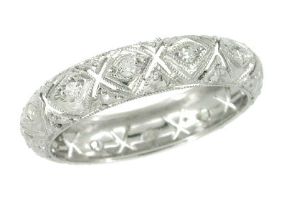Simsbury Vintage Diamond Art Deco Platinum Wedding Band - Size 8