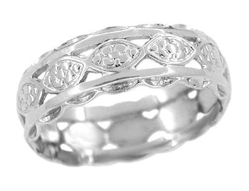 Art Deco Floral Scalloped Filigree Wide Wedding Band in 14 Karat White Gold - 6.5mm Wide