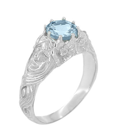 Art Nouveau Aquamarine Lady Ring in 14 Karat White Gold - Item: R494 - Image: 1
