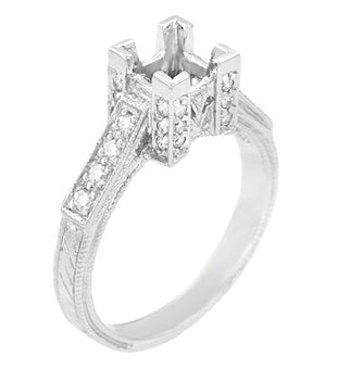 Art Deco 1 Carat Princess Cut Diamond Engagement Ring Setting in Platinum
