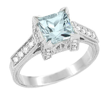 Platinum Art Deco 1 Carat Square Princess Cut Aquamarine and Diamond Engagement Ring