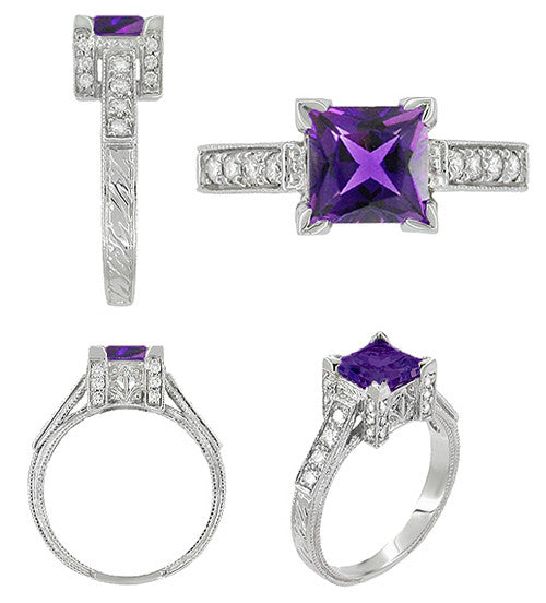 Side views of Art Deco Square Princess Antique Amethyst Engagement Ring in Castle Setting with Side Diamonds - R496AM