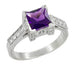 Platinum Art Deco Square Princess Cut 1 Carat Amethyst and Diamond Castle Engagement Ring