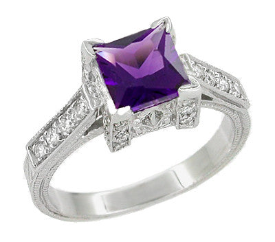 Square Princess 1 Carat Antique Amethyst Engagement Ring in Castle Setting with Side Diamonds - R496AM