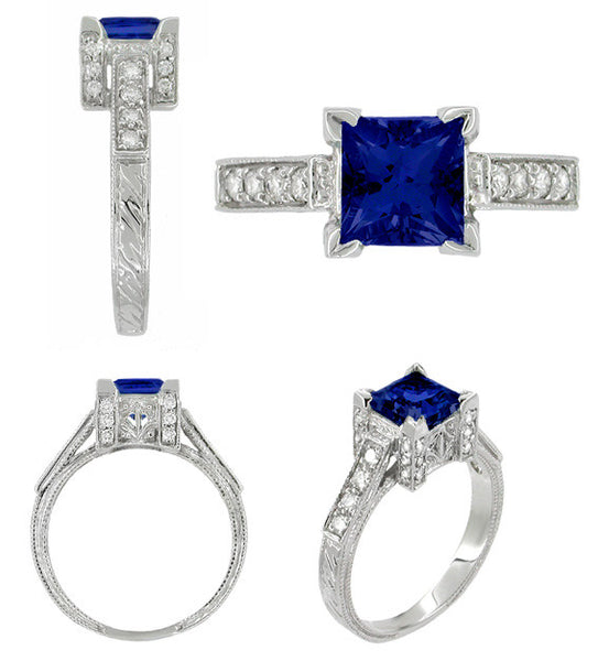 Art Deco 1 Carat Princess Cut Blue Sapphire and Diamond Engagement Ring in Platinum - Item: R495S - Image: 1
