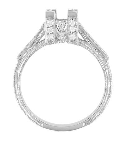 Art Deco 1 Carat Princess Cut Diamond Engagement Ring Setting in 18 Karat White Gold - Item: R496 - Image: 1