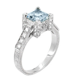 Art Deco 1 Carat Princess Cut Aquamarine and Diamond Engagement Ring in 18 Karat White Gold - Item: R496A - Image: 1