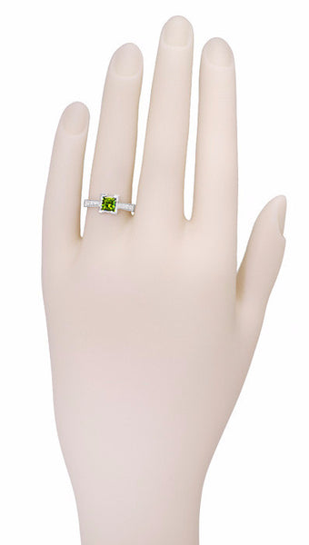 Art Deco 1 Carat Princess Cut Peridot and Diamond Engagement Ring in 18 Karat White Gold - Item: R496PER - Image: 2