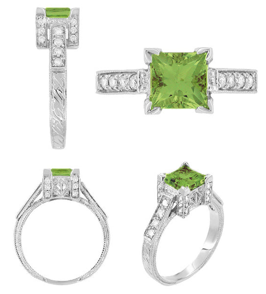 Side Views of Vintage Art Deco White Gold 1 Carat Princess Cut Square Peridot Engagement Ring with Diamonds - R496PER