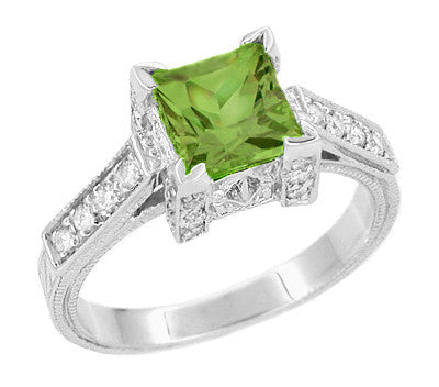 Vintage White Gold 1 Ct Square Peridot Engagement Ring with Side Diamonds - Art Deco Castle - R496PER