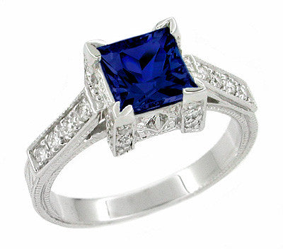 Art Deco Square Castle 1 Carat Princess Cut Blue Sapphire
