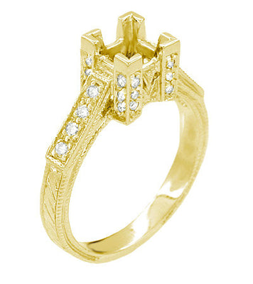 Art Deco 1 Carat Princess Cut Diamond 18 Karat Yellow Gold Castle Engagement Ring Setting