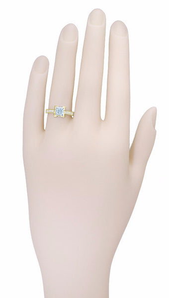 18 Karat Yellow Gold Art Deco 1 Carat Princess Cut Aquamarine Engagement Ring with Side Diamonds - Item: R496YA - Image: 2