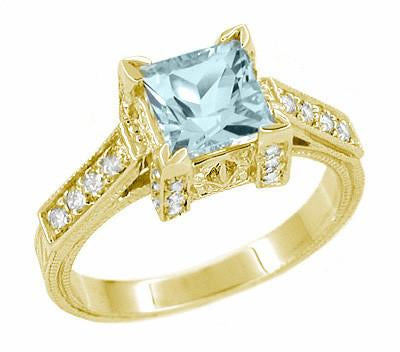 Art Deco 1 Carat Princess Cut Aquamarine and Diamond Engagement Ring in 18 Karat Yellow Gold - Item: R496YA - Image: 1