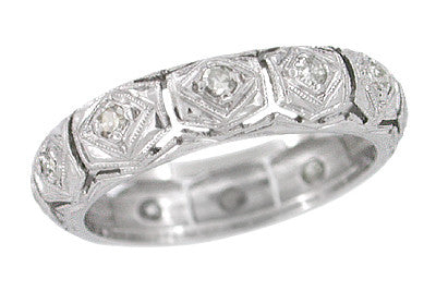 Byram Art Deco Diamond Platinum Vintage Eternity Wedding Ring - 4.5mm - Size 4
