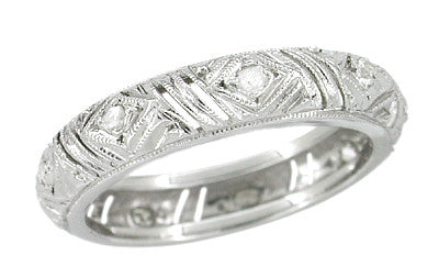Art Deco Rose Cut Diamond Aspetuck Antique Wedding Band in Platinum - Size 4 1/2