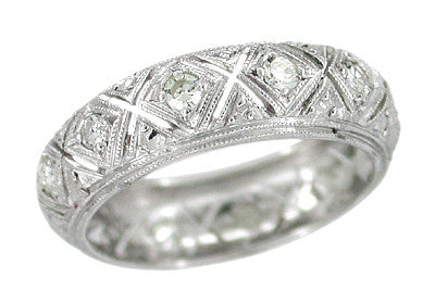 Art Deco Gurleyville Antique Diamond Wedding Band in Platinum - Size 4 1/2