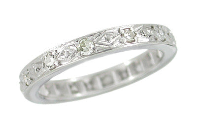 Geometric Mid Century Diamond Antique Wedding Band in Platinum - Size 4 1/2