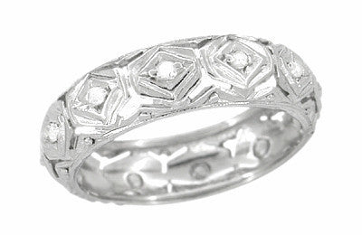 Art Deco Estate Diamond Orcuttville Wedding Band - Platinum - Size 5