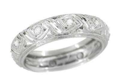 Filigree Centerbrook Art Deco Vintage Diamond Wedding Ring in Platinum - Size 5