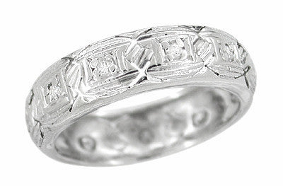 Art Deco Diamond Norwich Antique Wedding Band in Platinum - Size 5