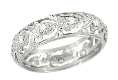 Antique Merrow Filigree Wedding Band - Platinum - Art Deco - Size 5