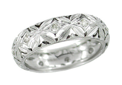 Art Deco Laurel Glen Flowers Vintage Diamond Wedding Band in Platinum - Size 5 1/4